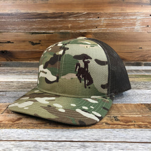 1890 Bucking Horse Snapback Hat- Camo/Brown