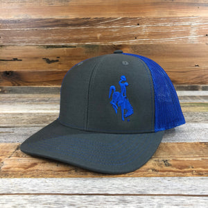 1890 Bucking Horse Snapback Hat- Charcoal/Royal Blue