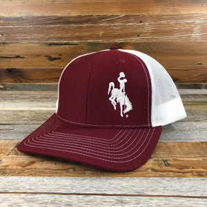 1890 Bucking Horse Snapback Hat- Burgundy/White
