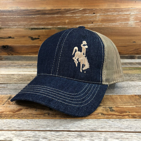 1890 Bucking Horse Snapback Hat- Denim