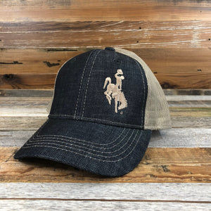 1890 Bucking Horse Snapback Hat- Stonewashed Denim