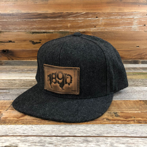 1890 Wool Leather Buffalo Patch Snapback Hat- Charcoal