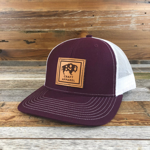 1890 Leather Patch Snapback Hat- Maroon/White