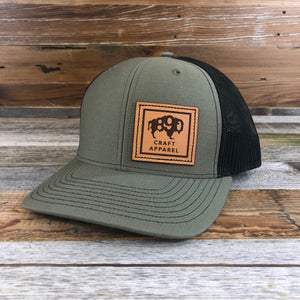 1890 Side Leather Patch Snapback Hat- Olive/Black