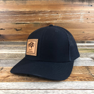 1890 Side Leather Patch Snapback Hat- Navy/Navy