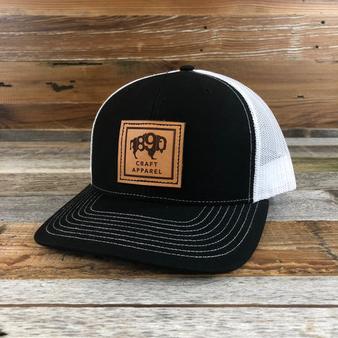 1890 Leather Patch Snapback Hat- Black/White