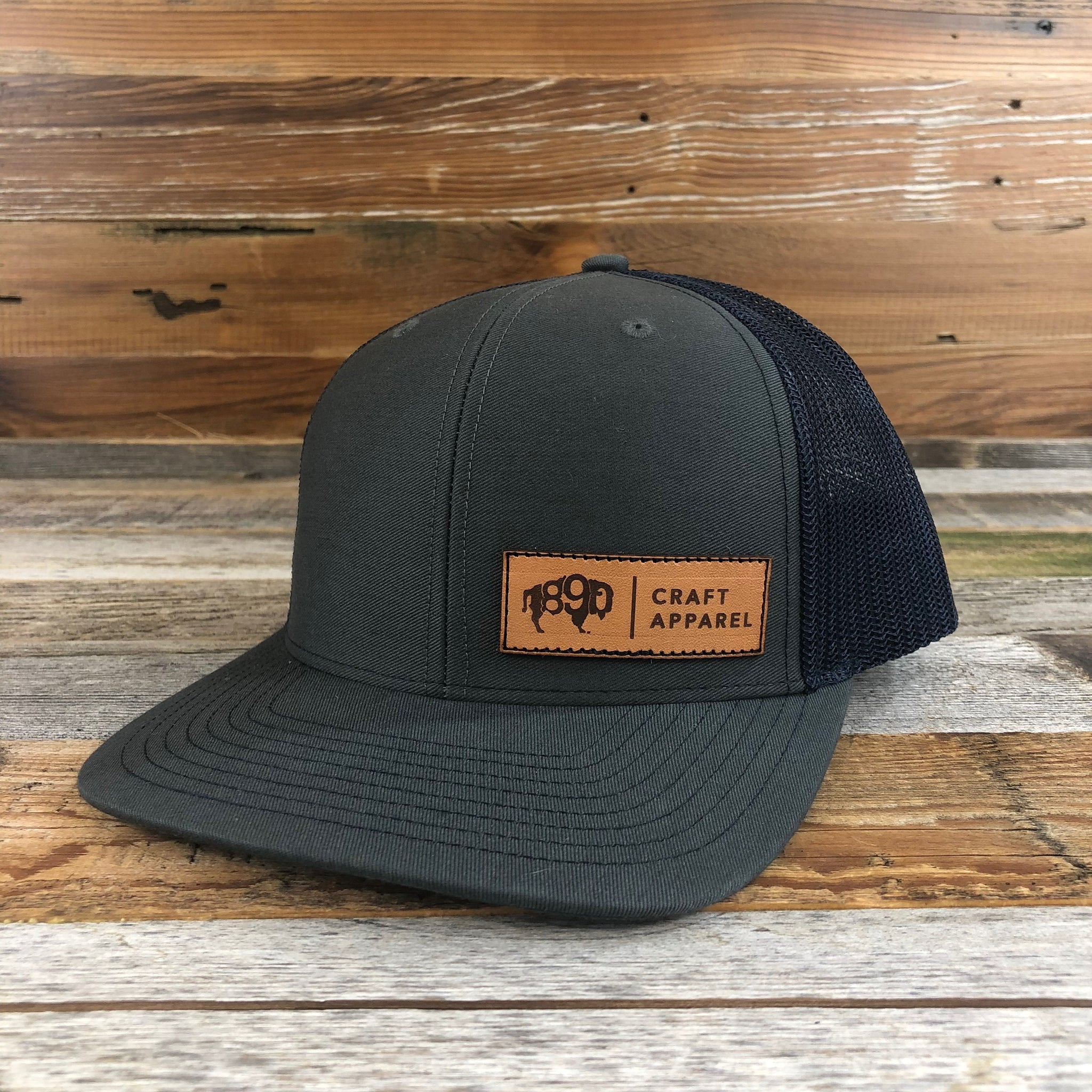 1890 Side Leather Patch Snapback Hat- Charcoal/Navy