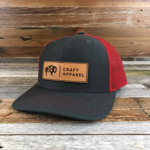 1890 Leather Patch Snapback Hat- Charcoal/Red