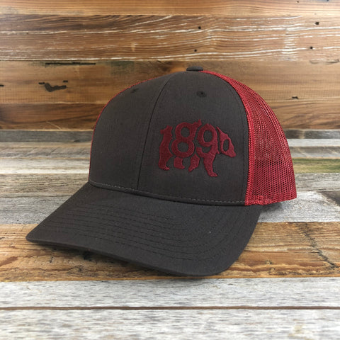 1890 Bear Snapback Hat- Chocolate/ Red