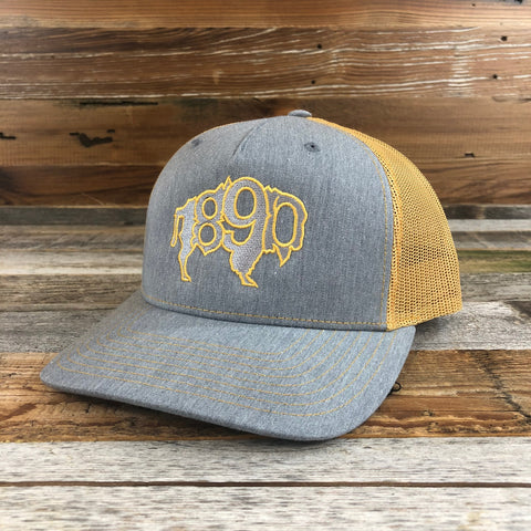 1890 Buffalo Snapback Hat- Heather Grey/Amber