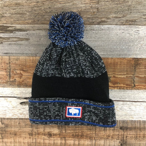 Buffalo Patch Pom Beanie- Black/Grey/Blue