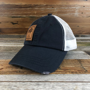 Distressed Side Leather Patch Hat- Navy/White
