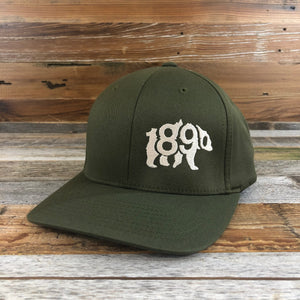 1890 Bear Flex-Fit Hat- Olive