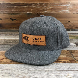 1890 Wool Leather Patch Snapback Hat- Heather Grey