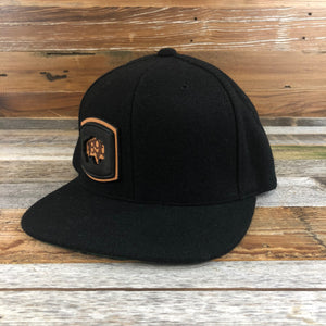 Foam Patch Snapback Hat- Black