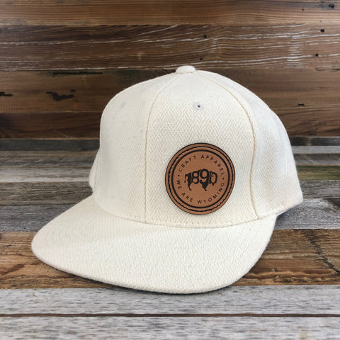 Wool Side Leather Patch Snapback Hat- Sand