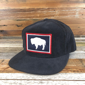 Corduroy Buffalo Patch Snapback Hat- Navy