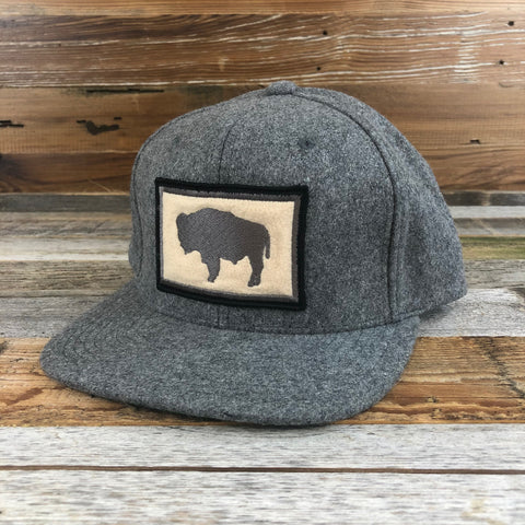 Wool Buffalo Patch Snapback Hat- Heather Grey