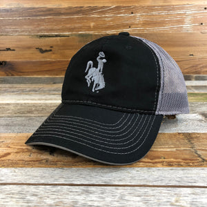 1890 Bucking Horse Hat- Black/Grey Mesh