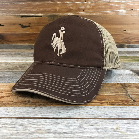 1890 Bucking Horse Hat- Brown/Khaki Mesh