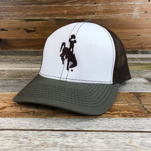 1890 Bucking Horse Snapback Hat- White/Olive
