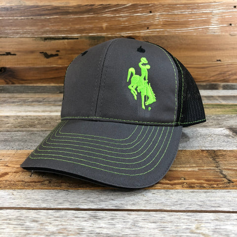 1890 Bucking Horse Hat- Charcoal/Neon Green