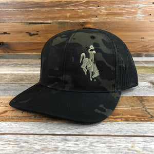 1890 Bucking Horse Snapback Hat- Dark Camo