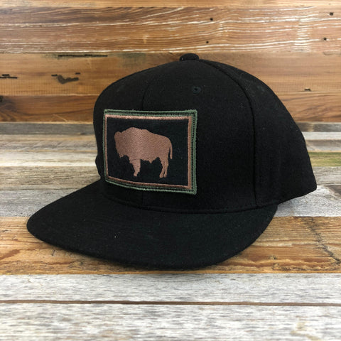 Wool Buffalo Patch Snapback Hat- Black