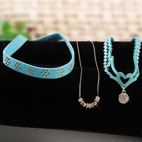 3 piece fashion choker suede necklace with gothic charm