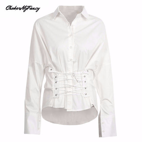 2017 ChokerMyFancy Elegant lace up white blouse shirt Long sleeve cotton high-low blouse