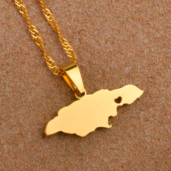 14k gold plated jamaica heart map pendant necklace world shop spot 14k gold plated jamaica heart map pendant necklace gumiabroncs Gallery
