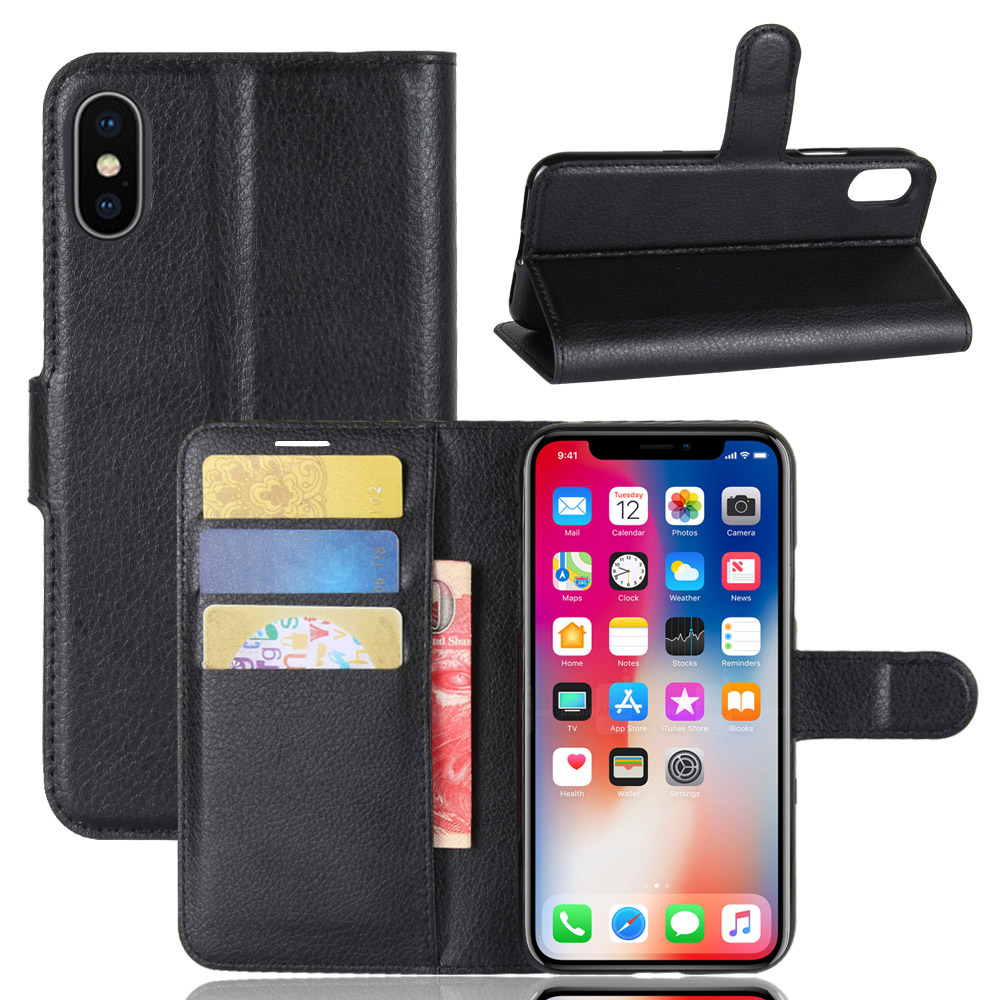 Black Leather iPhone X XS Case
