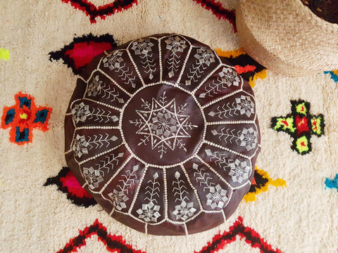 Moroccan Leather Pouffe - Dark Red Brown