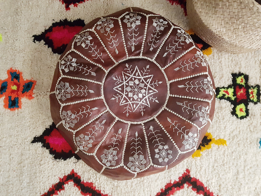 Moroccan Leather Pouffe - Red Brown