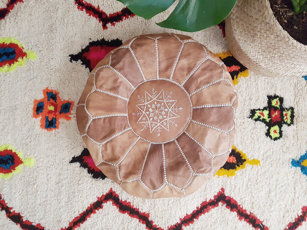 Moroccan Traditional Leather Pouffe - Natural Tan