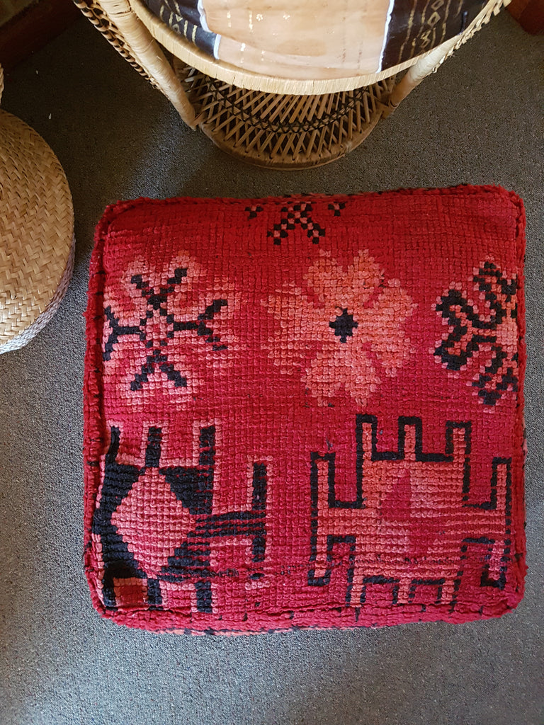 Moroccan Vintage Boujad Pouffe Floor Cushion