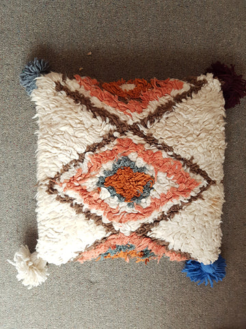 Moroccan Vintage Pillow Cushion Cover - POM POMS