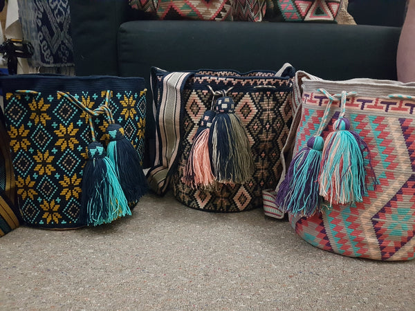 Wayuu Mochila 1 Thread (Large) Mustard/Blue