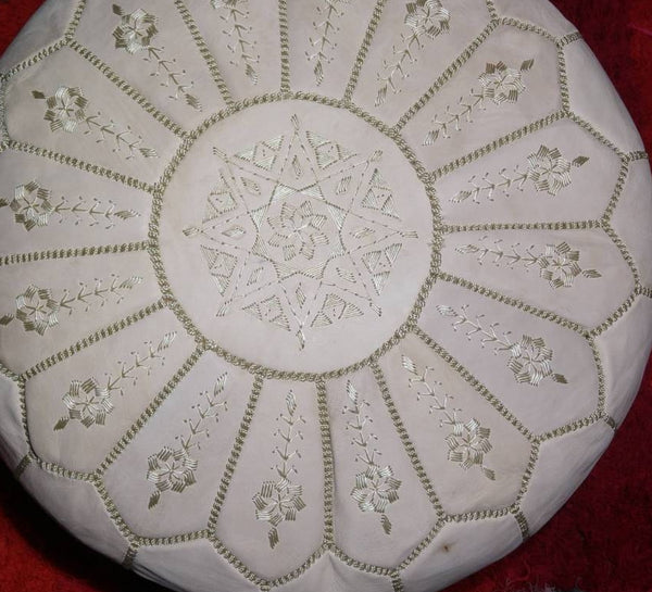 Moroccan Leather Pouffe - Natural