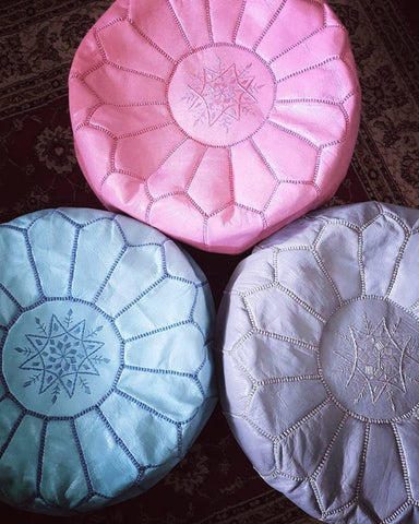 Moroccan Traditional Leather Pouffe - Pink