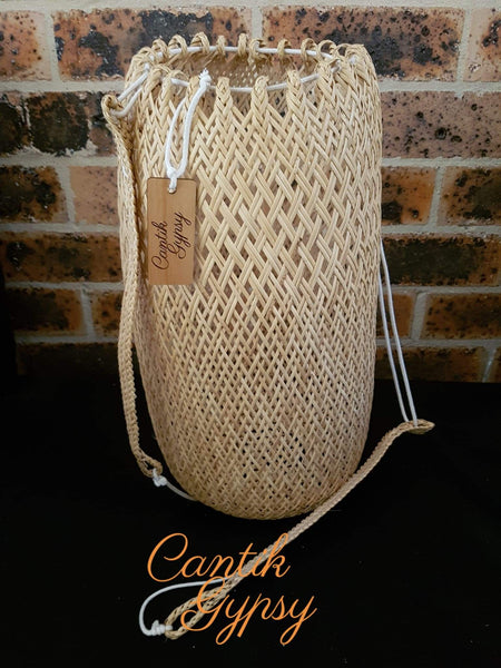 Borneo Rattan Bucket Bag Backpack Cantik Gypsy Collection