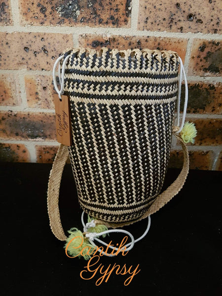 Borneo Rattan Bucket Bag Backpack (Dayak Motives) Cantik Gypsy Collection
