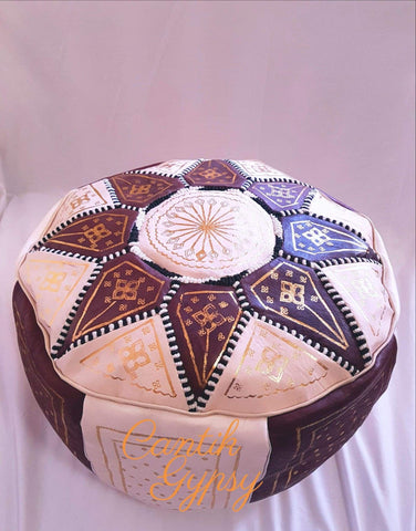 Moroccan Fes Pouffe - Brown