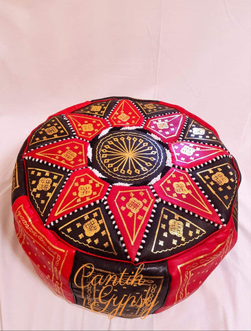 Moroccan Fes Pouffe - Red Black