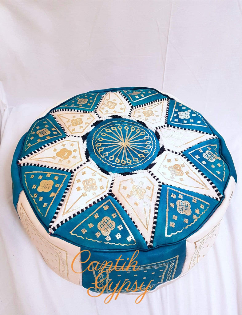 Moroccan Fes Pouffe - Teal