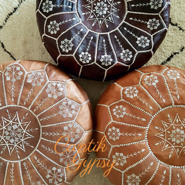 Moroccan Mandala Leather Pouffe - Red Brown