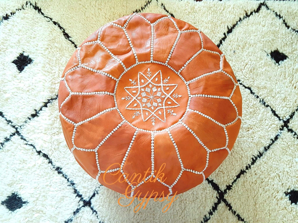Moroccan Traditional Leather Pouffe - Real Tan