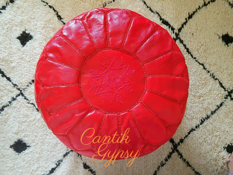 Moroccan Traditional Leather Pouffe - Red
