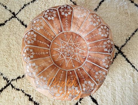 || Order Now Moroccan Mandala Leather Pouffe - Natural Tan
