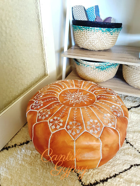 || Order Now Moroccan Mandala Leather Pouffe - Real Tan